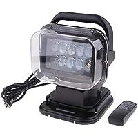 HaoYueDa Spotlight Remoto inalámbrico de Control de rotación de LED Luz de la búsqueda de la Carcasa Negro