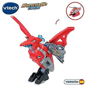 VTech- Tino, el tricerátops bólido Dinosaurio electrónico Interactivo transformable en Coche con Voz, Funciones, mas de 60 Sonidos y Frases. (3480-192122)