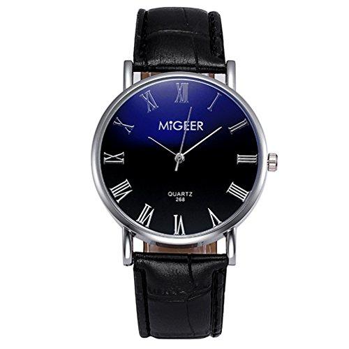 Souarts Herren Armbanduhr Blu-ray Einfach Stil Casual Analoge Quarz Uhr Schwarz