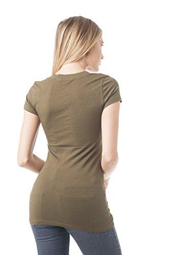 Hollywood Star Fashion Damen Short Sleeve V-Neck Tee Olive