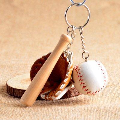 Huayer Schlüsselanhänger Taschendekoration Moderne Mini Baseballschläger Handschuh Set Keychain Schlüsselanhänger Handtasche Anhänger - Kaffee