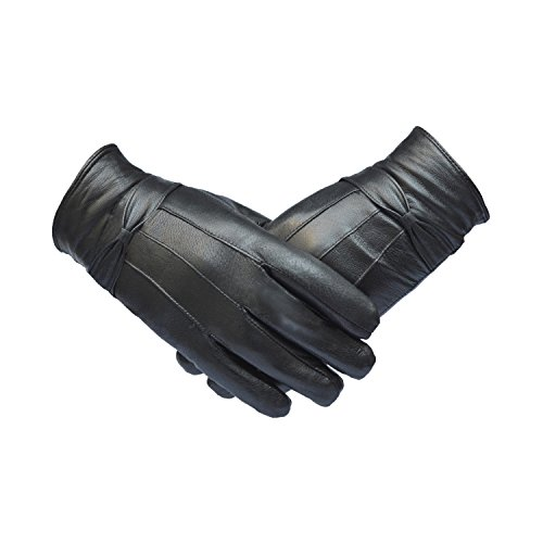 genuine-leather-womans-soft-fleece-lined-warm-winter-stylish-driving-gloves-m-black