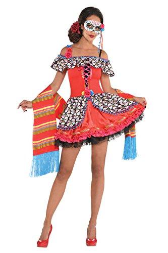 Damen Tag der Toten Senora Zuckerschädel Halloween Kostüm + Maske - Senora ZUCKERSCHÄDEL, M - (Dress Korsett Fancy)