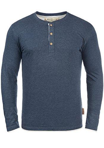 INDICODE Gifford Herren Longsleeve mit Grandad-Ausschnitt aus hochwertiger Baumwoll-Mischung , Größe:L, Farbe:Navy Mix (420)