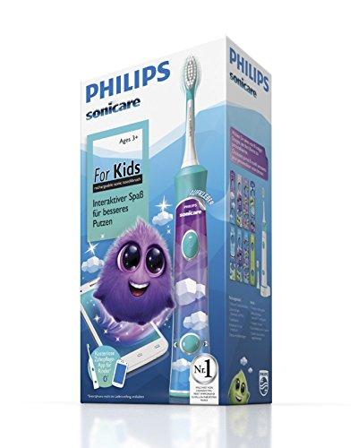 Philips Sonicare For Kids Connected Elektrische Zahnbürste mit Schalltechnologie für Kinder HX6322/04, türkis