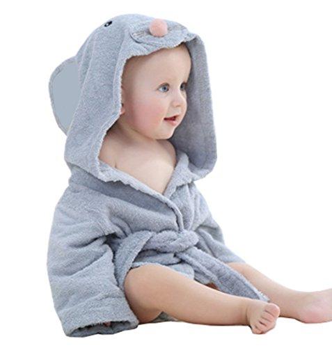 Kapuzenhandtuch Baby von Lexikind | kuscheliger Frottee Bademantel mit Tiermotiven | Babyhandtuch mit Kapuze | lustiges Kapuzenbadetuch (Maus)