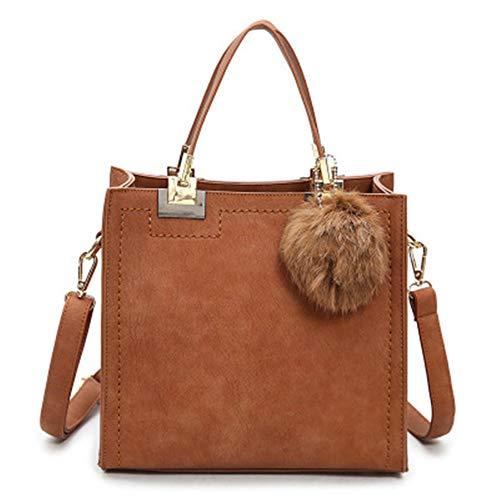 TTZZ Handtasche Frauen Umhängetasche Taschen Grade Peeling Leder Umhängetasche Hairball Frauen Tasche lila24 * 23 * 13cm