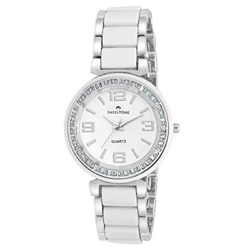 Swisstone CREM505-WHT-SLV White Ceramic Wrist watch for Women/Girls