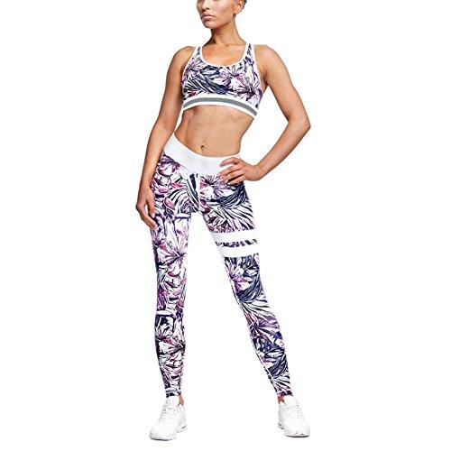 Inlefen Frauen Sport Anzug 2 Teil/Sätze BH + Leggings Elastizität Fitness Anzüge für Yoga, Laufen und Andere Aktivitäten Purple M -