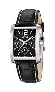 Lotus 15387/P - Reloj analógico de cuarzo para hombre, correa de cuero color negro (agujas luminiscentes) de Lotus