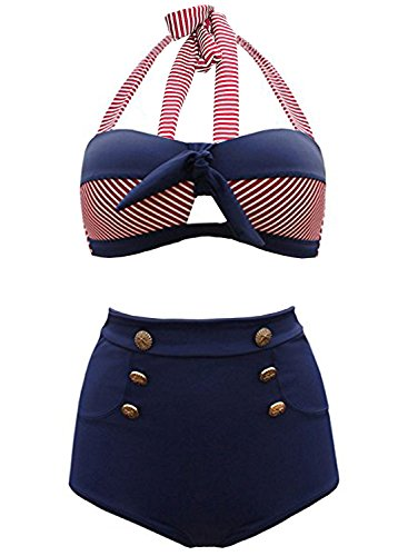 Marine-blau-t-shirt Klassiker (Futurino Damen Frühjahr/Sommer Vintage Retro Nautical Sailor Bügel Push Up Bikini Sets Bademode (EU36, Marine))