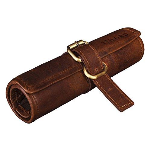 Stilord 'felix' astuccio in pelle vintage rollup per scuola università lavoro portapenne portamatite portacolori porta pennelli in vero cuoio, colore:cognac marrone scuro