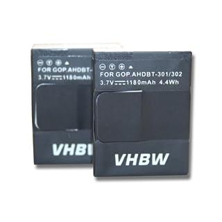 2 x vhbw Akku Set 1180mAh (3.7V) für GoPro Hero 3 III, 3 III CHDHX-301, 3+ III Plus Black, White, Silver, Edition wie AHDBT-201, AHDBT-301, AHDBT-302
