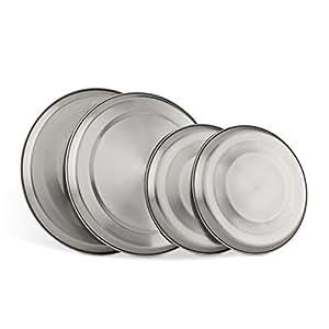 relaxdays 4 cache plaques en acier inox prot ge plaques pour plaques lectriques gris argent. Black Bedroom Furniture Sets. Home Design Ideas
