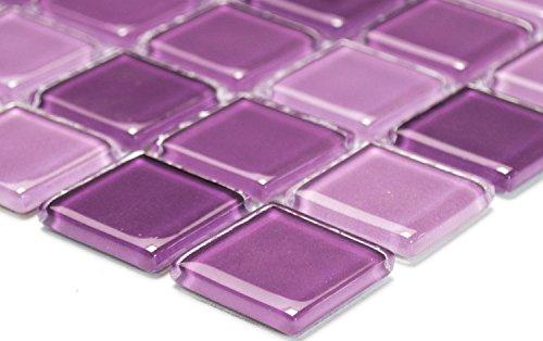 Mosaik-Netzwerk Mosaikfliese Quadrat Crystal mix lila Glasmosaik Transluzent Transparent 3D Fliesenspiegel, Mosaikstein Format: 25x25x4 mm, Bogengröße: 327x302 mm, 1 Bogen / Matte