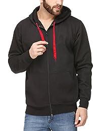 Scott Men's Black Cotton Hooded Sweatshirt with Zip
