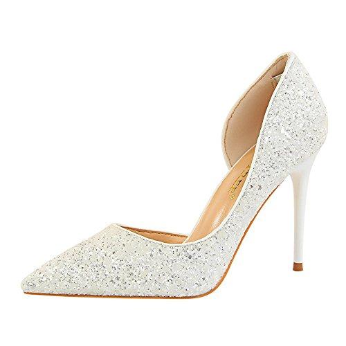 Damen Schuhe FORH Pumps Extrem Frauen Sexy High Heels Schuhe Bohemian Strass Dünne Fersen Weibliche Schuhe Prinzessin Schuhe hochhackigen Schuhen mit Glitzerpailletten Party Schuhe (Silber A, 38) Sexy Strass Heels