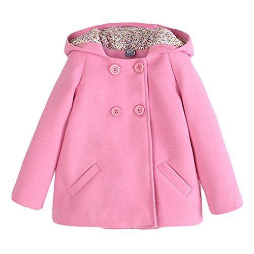Fashion Baby Mädchen Wollmantel Mädchenjacke Mit Kapuze Kinder Windjacke Winter Mantel Rose Rot 3-7 Jahre Rosa 130