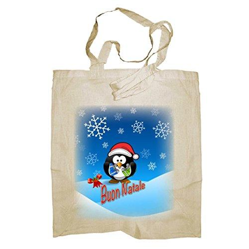 My Custom Style® Shopper in cotone naturale di colore Blu scuro modello Natale _Pinguinomanici medi da 50cm; formato borsa 38x42cm. La seconda foto si riferisce al modello di borsa scelto, limmagin