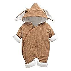 Livoral Baby-Winterjacke mit neugeborenem Kaninchenohr-Overall mit Reißverschluss und Kapuze(Kaffee,5-10 Monate)