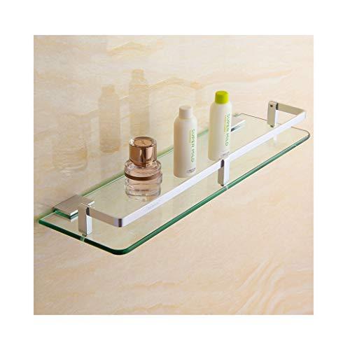 Glas Poliert Seifenschale (QIQI-JZX Badezimmer-Regal-Rahmen-ausgeglichenes Glas-Starkes Raum-Aluminium-Material 7mm Gebürstet Poliert (größe : 13 * 30cm))