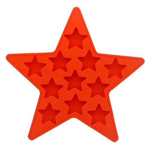 MagiDeal Mini Herzform Sternform Eiswürfel Schokoladen Gießform Ausstechform Backform Spaß Spielzeug für Kinder - rot Stern