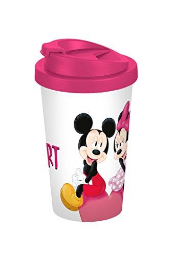 Disney Mickey Mouse Mickey My Heart 400ml Coffee to go Becher, Kunststoff, Weiß-bunt 9 x 9 x 16,5 cm