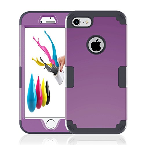 iPhone 7 Case Grip, iPhone 7 Cover Hard Case Flexible TPU Rubber Ultra Thin Slim Protective Bumper Hybrid Armor Defender Heavy Duty Impact Protection Shockproof for Apple iPhone 7 (2016) Black Purple