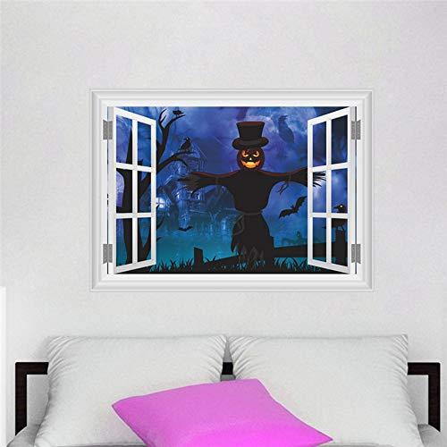 Halloween Kürbis Laterne Ghost Flying Bat Wandaufkleber Wohnzimmer Schlafzimmer 3d Fenster Wandtattoo Wand Kunst Poster ()