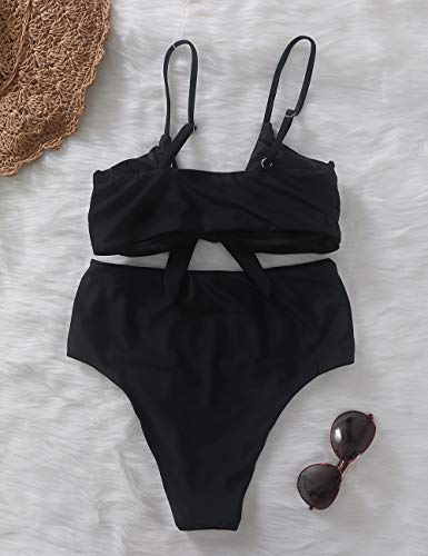 Xunyu Damen Bikini-Set, hoch taillierter Badeanzug, Push-up Badeanzug mit Knoten-Optik, zweiteiliger Badeanzug -  Grau -  Medium - 3