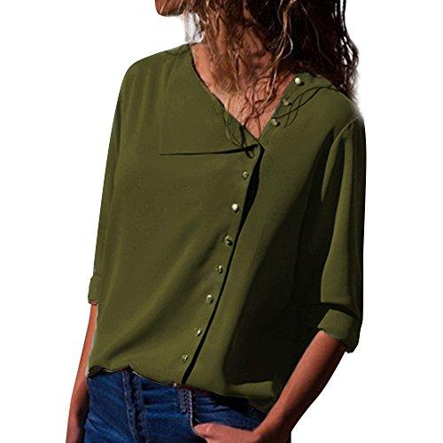 VJGOAL Damen Bluse, Damen Mode lässig passenden Farbe herbstlichen Langarm-Taste lose Kariertes Hemd Bluse Top T-Shirt (S-unregelmäßig-grün, 40)