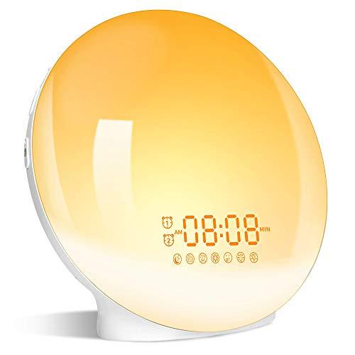 Lichtwecker Wake Up Licht Wecker mit zwei Alarmen Snooze -【Sonnenaufgang Sonnenuntergang Simulation】FM Radio &7 Natürlichen Klängen/ 7 Farben & 20 Helligkeit für Erwachsene & Kinder