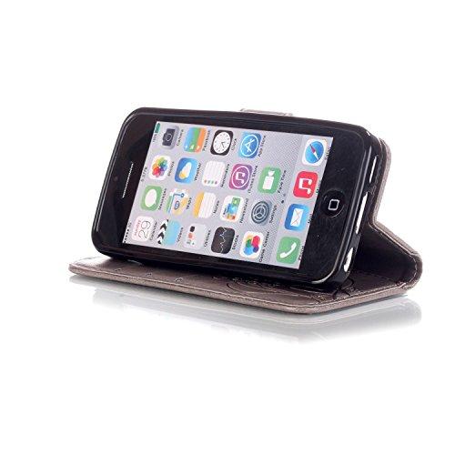 iPhone 5C Custodia Pelle,Ukayfe PU Disegni dipinto Case Cover Protettiva Portafoglio Protettivo Copertura Wallet Libro,Moda Disegno stampa dellunità di elaborazione di vibrazione del cuoio magnetico  grigio3#