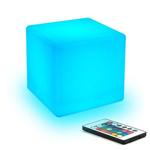 10cm Dimmbar LED Nachtlicht Kind mit Wiederaufladbare Batterie und Fernbedienung, Farbwechsel LED-Würfel-Licht Stimmungslicht Kinder-Lampe Tischlampe mit 16 RGB-Farben für Kindrzimmer