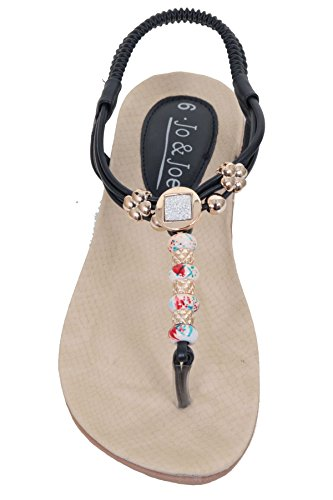 Fantasia Boutique femmes perléàélastique lanière rembourré entre-doigt String Sandales plates chaussures Bleu Marine
