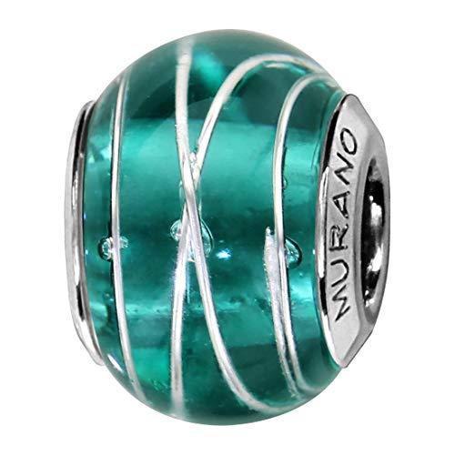 So Chic Joyas© Charm cristal de Murano verde malla plata 925-Compatible con Pandora, Biagi, Chamilia, Biagi