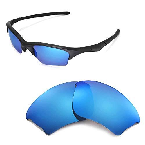 Walleva Ersatzgläser oder Gläser/Gummi-Set für Oakley Half Jacket XLJ Sonnenbrillen - 53 Optionen, Ice Blue Coated - ISARC Polarized