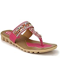 Rimezs Multicolor T Strap Beads Casual And Party Wear Ethnic Flats For Women And Girls