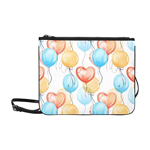 Blau Gelb Lila Farben Muster Benutzerdefinierte hochwertige Nylon Slim Clutch Crossbody Tasche Umhängetasche ()