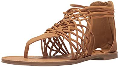 Qupid Women's Athena-1126a Huarache Sandal, Tan Distress Nubuck, 6 M US