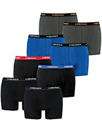 HEAD Herren Boxershorts 841001001 8er Pack, Wäschegröße:L;Artikel:1x Black / 1x Red/Blue/Black / 1x Blue/Black / 1x dark shadow