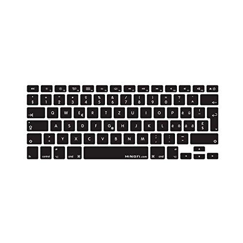 MiNGFi Schweiz mehrsprachig Swiss Tastatur Silikon Schutz Abdeckung für MacBook Pro 13, 15, 17 Air 13 Zoll / Wireless Keyboard EU/ISO/DE Keyboard Layout Silicone Cover - Schwarz - Pro 13 Tastatur Silikon Macbook Aus