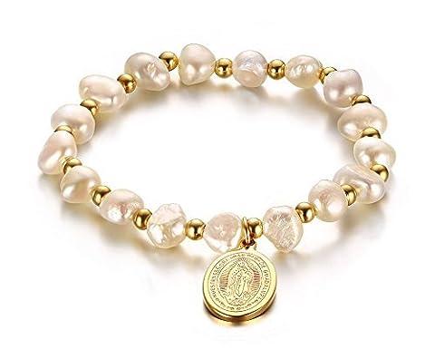Vnox Perles d'eau douce en acier inoxydable vierge Marie Bracelet, 16,5cm