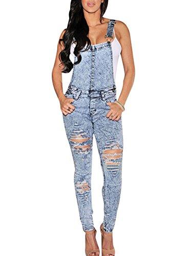Cfanny Femmes Délavé Jeans Destroy Ajusté Combinaison Combinaison Bleu Clair