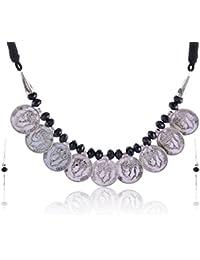 RAI COLLECTION Black Silver Strand Necklace Set For Women (RAI061)