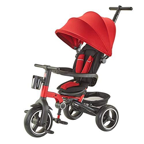 BLWX - Tricycle Pliant bébé Poussette vélo 1-2-3-4 Ans Portable Slip Baby Artifact Poussette (Couleur : Red)