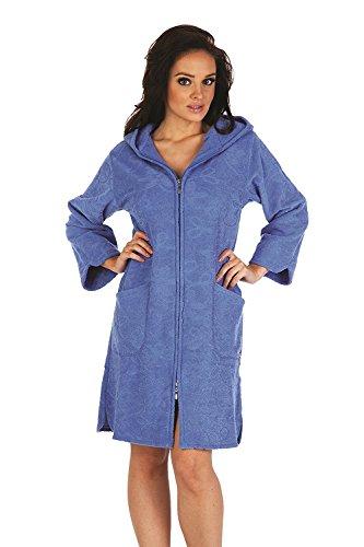 FOREX Lingerie flauschiger Bademantel Mantel mit praktischem Reißverschluss und kuscheliger Kapuze, jeans, Gr. XL (Reißverschluss-frottee-bademantel)