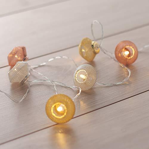 DecoKing 47071 10er LED Lichterkette auf silbernem Draht orientalisch marokkanisch warmes Weiß statisch batteriebetrieben LED Girlande Gartendeko Morocco