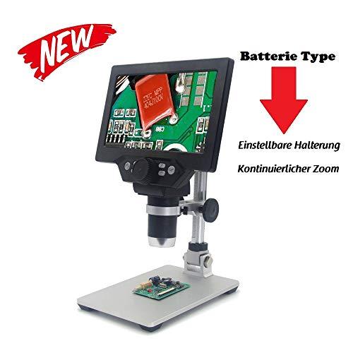 KKmoon Digitales Mikroskop 12MP 1-1200X Vergrößerung Lupe 7 Zoll LCD Display 8 LEDs Einstellbar Helligkeit für Handy Industrial QC Inspektion mit Ständer aus Aluminiumlegierung -