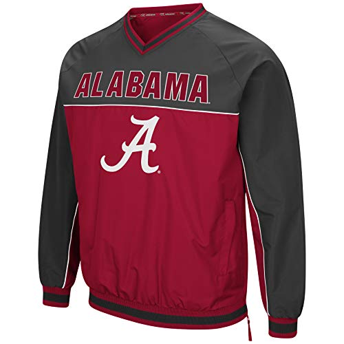 Colosseum Herren NCAA Athletic V-Ausschnitt Windbreaker Pullover mit Tackle Twill Stickerei, Herren, Alabama Crimson Tide Crimson/Charcoal, X-Large